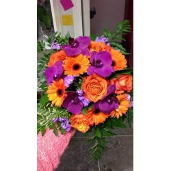 bouquet rond orange et mauve