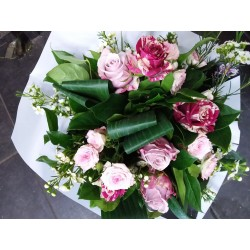 Bouquet rond blanc et rose