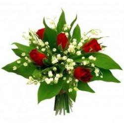 Bouquet de muguet plus rose