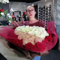 Bouquet cœur rose rouge et...