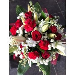Bouquet rond rouge et blanc